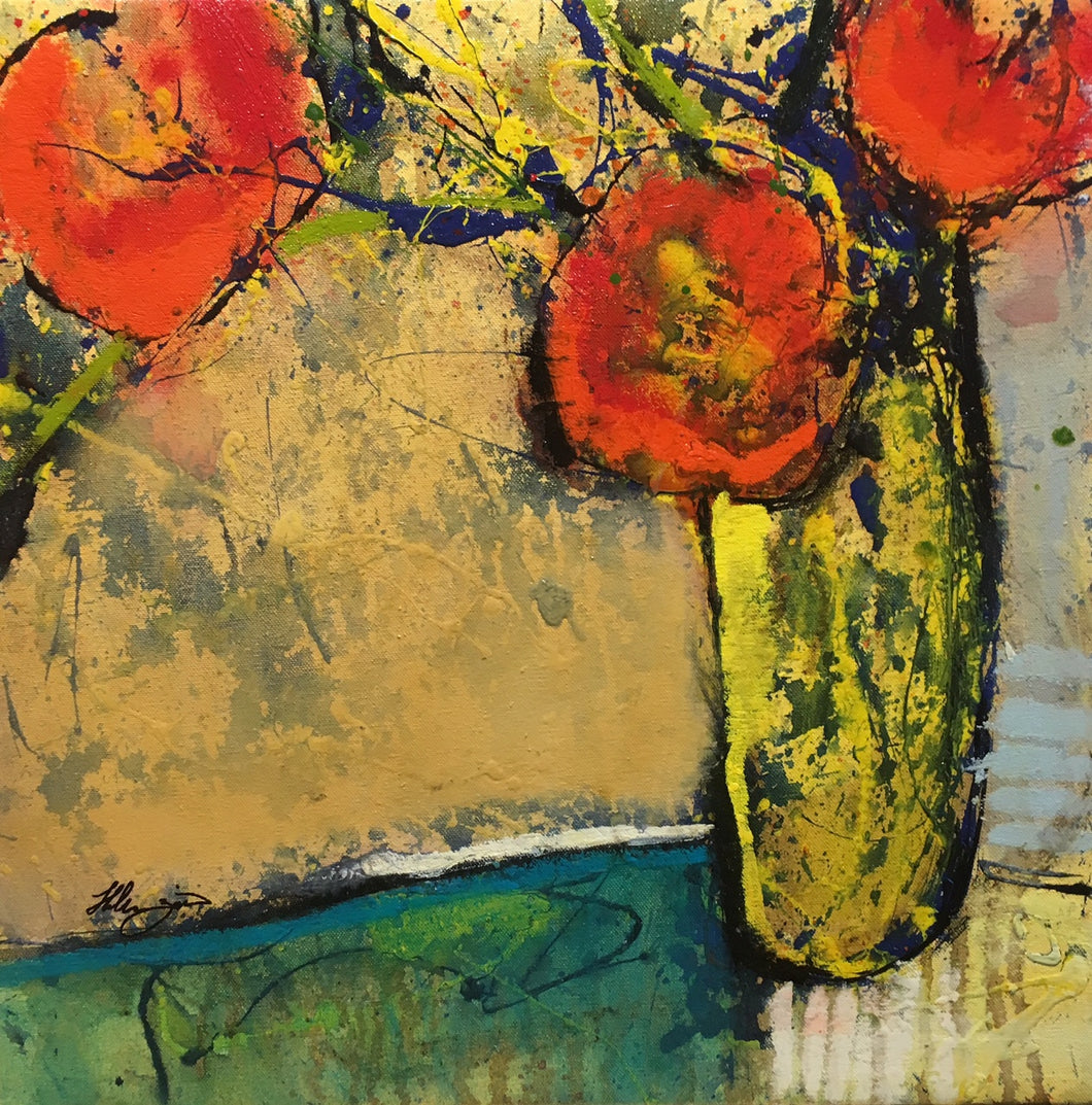 Le Fleur IV by Helen Zarin - Modern Colorful Abstracted Still Life Painting