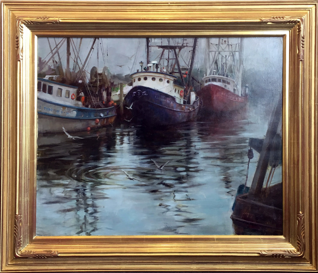 Harbor Reflection  by Hagop Keledjian - Contemporary Impressionist Marine Painting