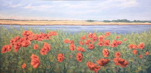 BEACHFRONT POPPIES by Cheryl Davis - Landscape Painting