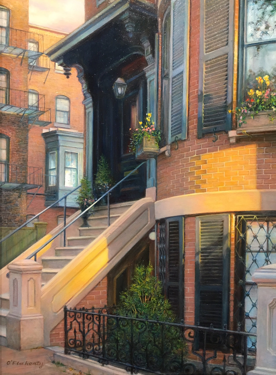 EARLY MORNING SPRING by Roderick O'Flaherty -by Roderick O'Flaherty  - Painting of Back Bay Boston