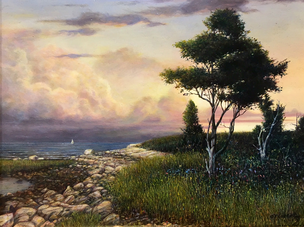 GOLDEN LIGHT OFF BASSETT'S ISLAND by Roderick O'Flahety - Realism Painting