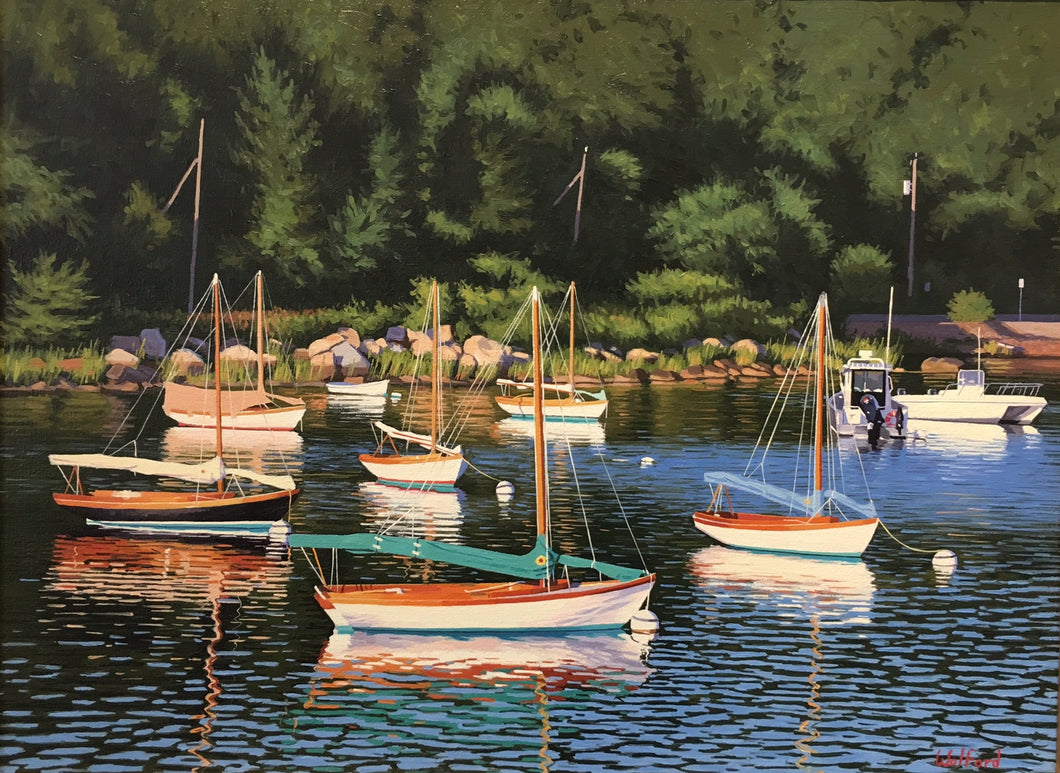 Quissett Habor By James Wolford - Contemporary Realist Painting of Cape Code