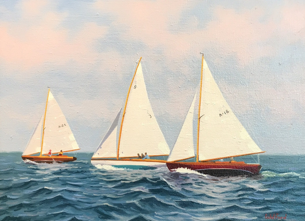 Three Tacking By James Wolford - Contemporary Realist Painting of Sailing