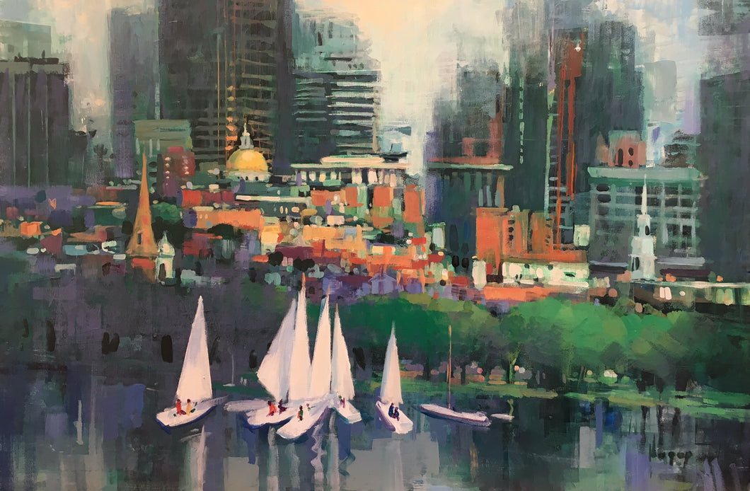 STATE HOUSE by Hagop Keledjian - Abstract Painting of Boston