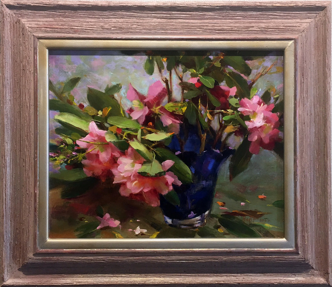 Rhododendrons  by Hagop Keledjian - Contemporary Impressionist Painting of Flowers