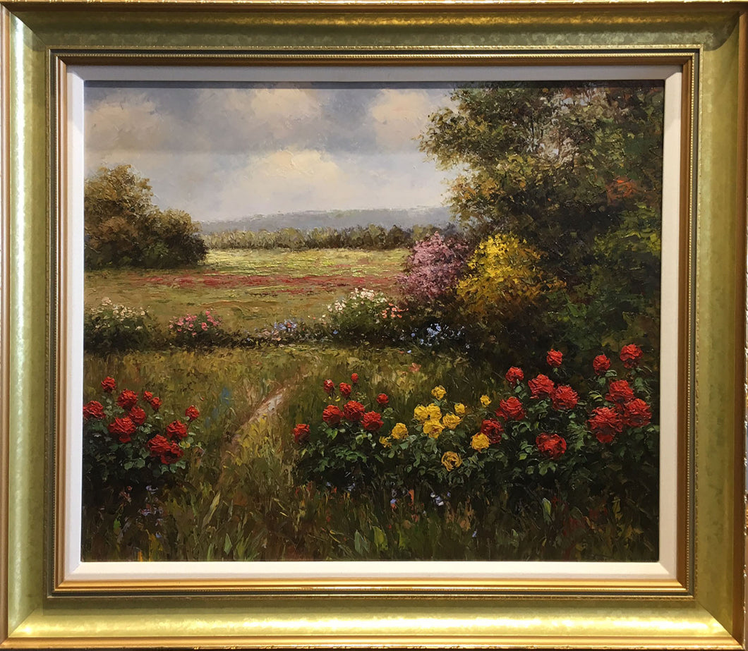 Flower Field By Pisarski - Oil on Canvas Original Painting