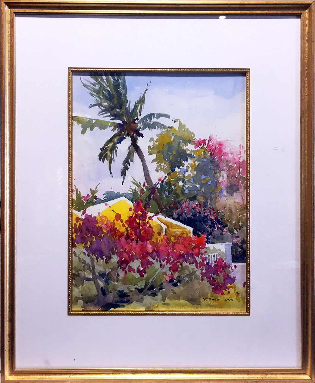 Harbour Island, Bahamas III By William Ternes (1933 – 2014) - Carribean Island Water Color