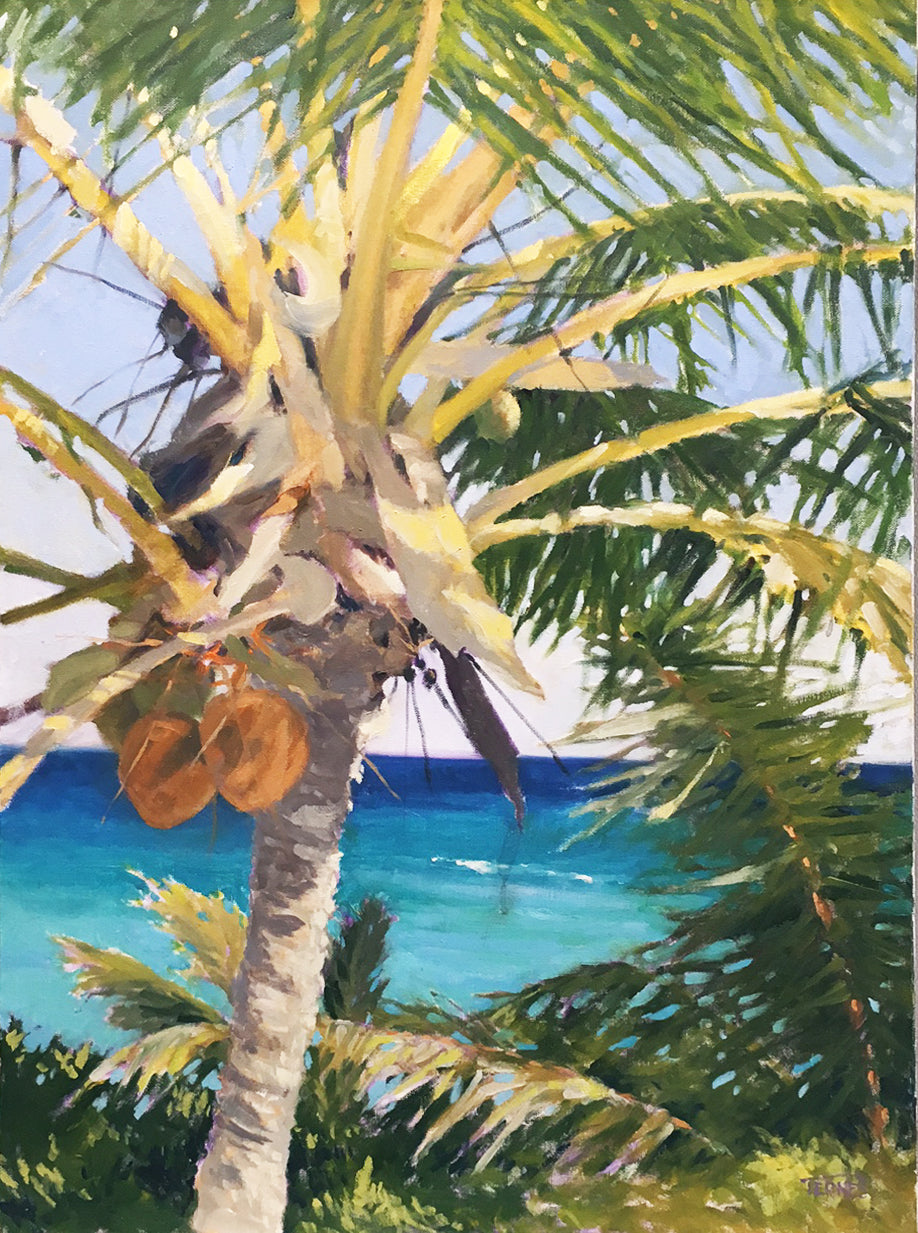 Swaying Palm By William Ternes (1933 – 2014) - Caribbean Scenary Painting