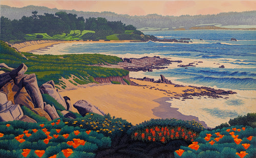Carmel River State Beach - Reduction Woodcut Print by Gordon Mortensen