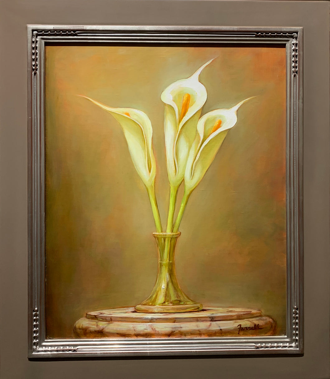 White Calla Lilies on Marble Oil  on Canvas by Sean Farrell