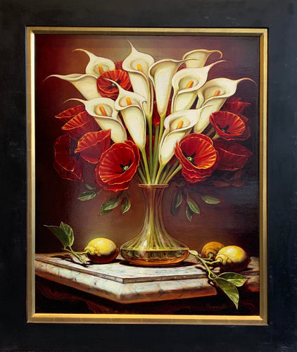 Calla Lillies & Red Poppies on Marble by Sean Farrell