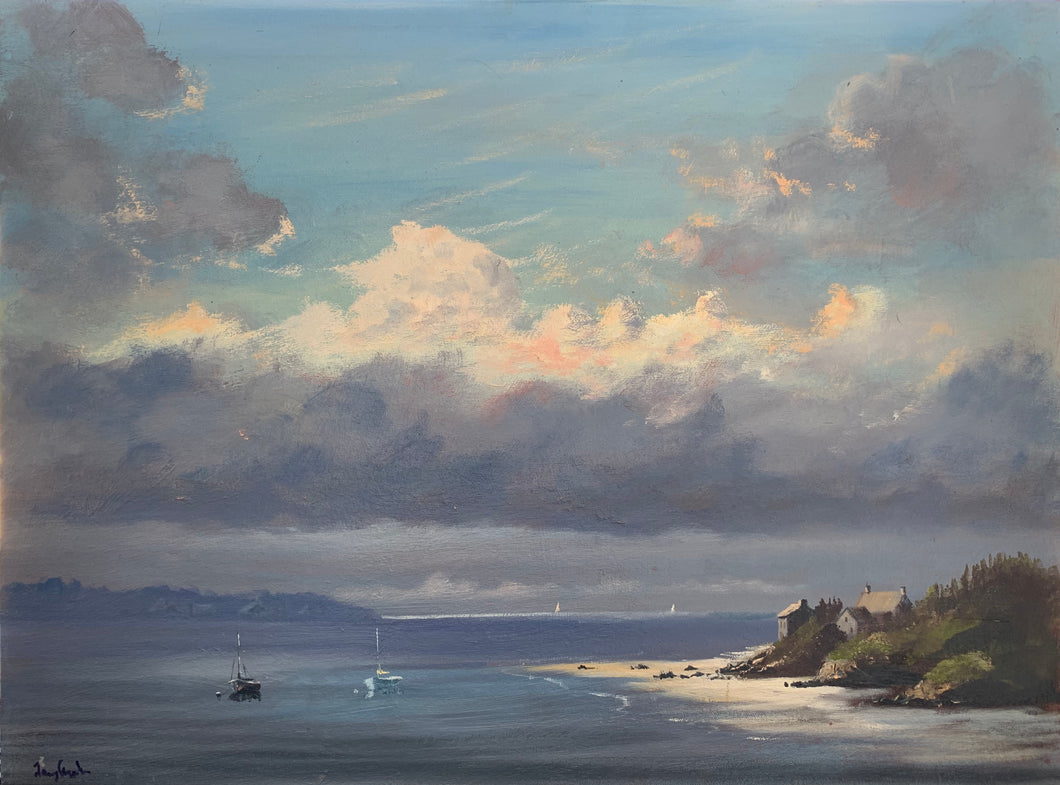 Ile Aue Haute Coast Oil on Board by artist Jeremy Rugge Price