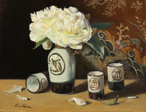 Peonies with a Sake Set - Irina Furman