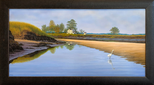 Tide Pool Egret - Realist Painting by Robert Cyr