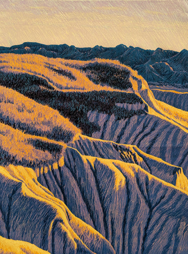 S. Dakota Hills - Limited Reduction Woodcut Print by Gordon Mortensen