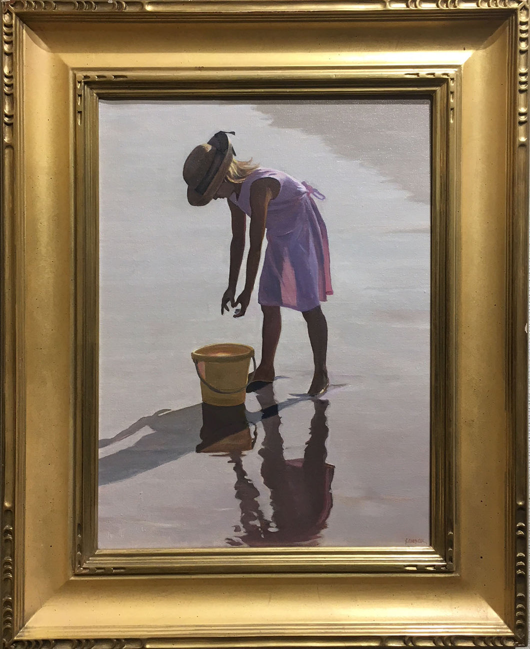 GIRL WITH PAIL By David Schock - Figurative Painting