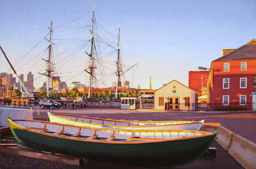 USS Constitution and Life Boats by James Wolford