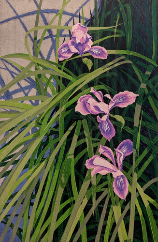Wild Iris - Woodcut on Paper by artist Gordon Mortensen