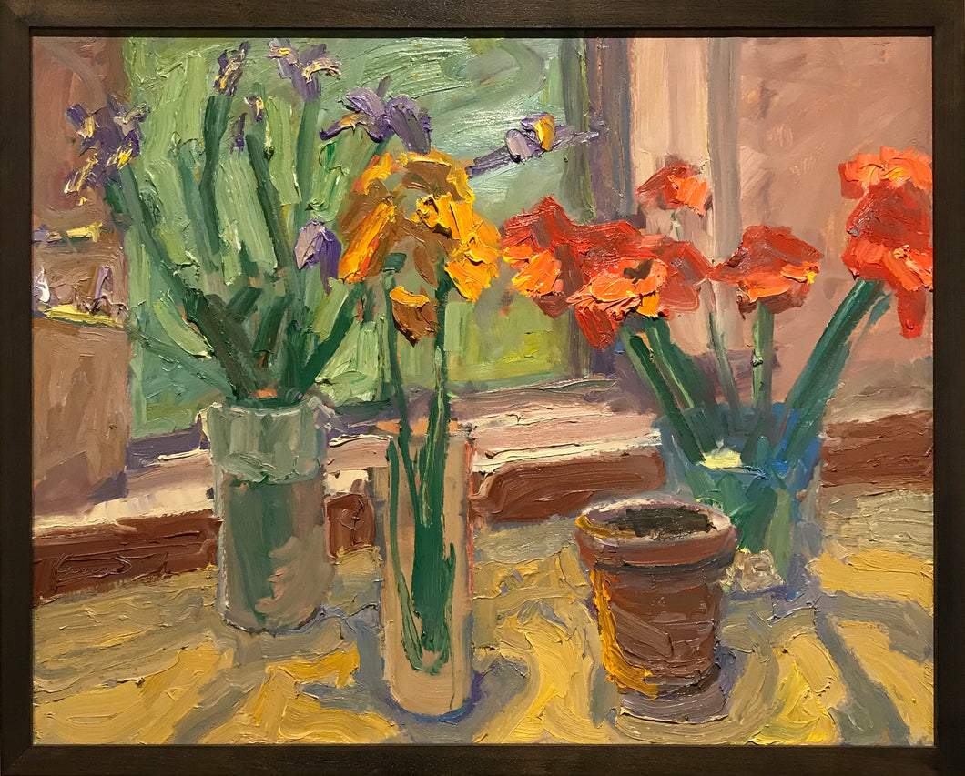 Flowers by the window by David Kasman Sculptural oil painting on canvas