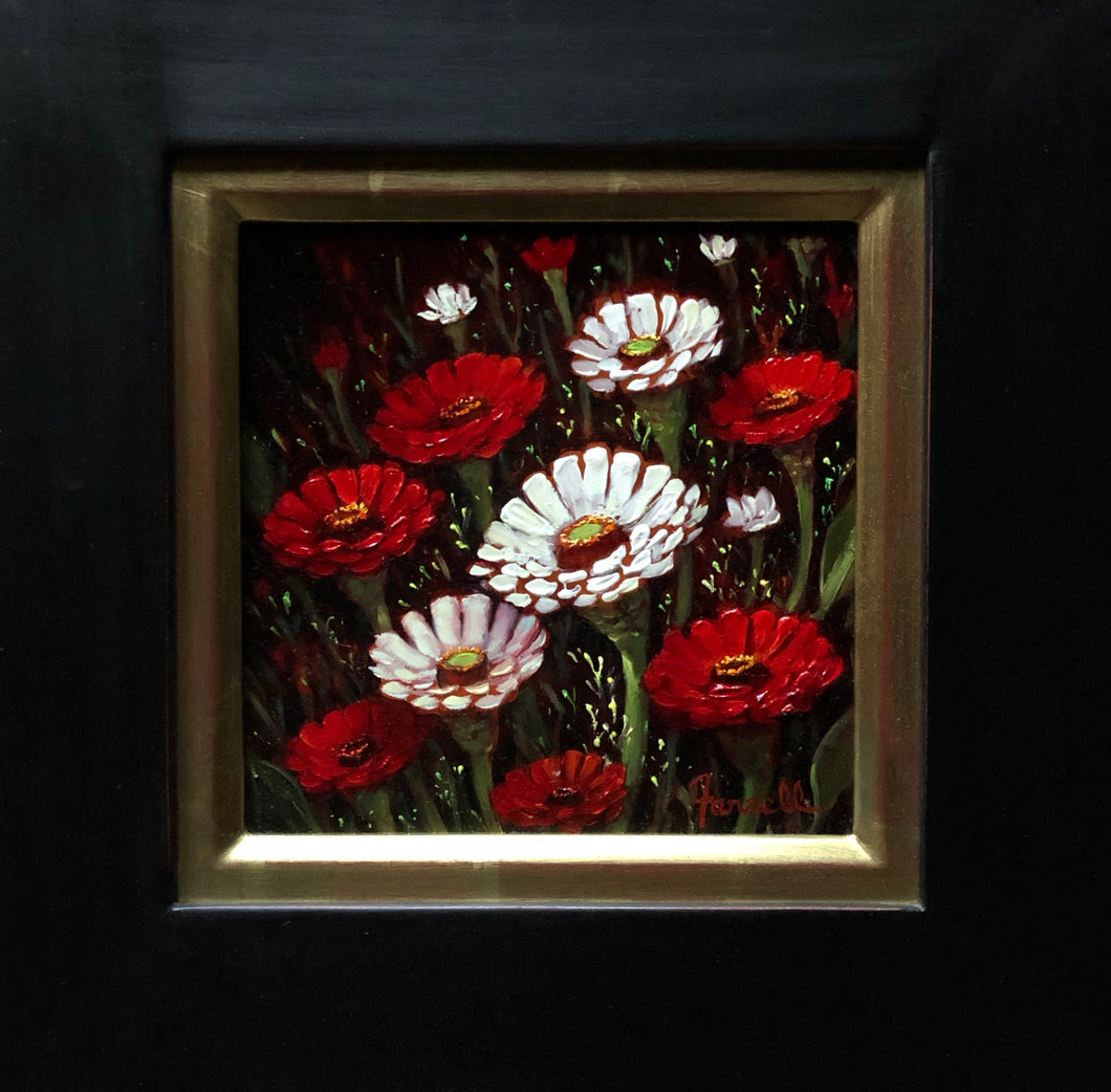 Red Zinnias - Oil On Canvas by Artist Sean Farrell