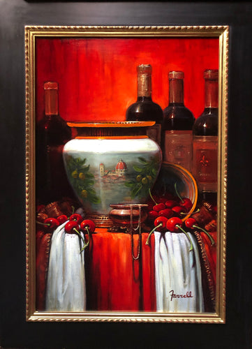 A Bottle of RED (Florence Italy)  original painting by Sean Farrell