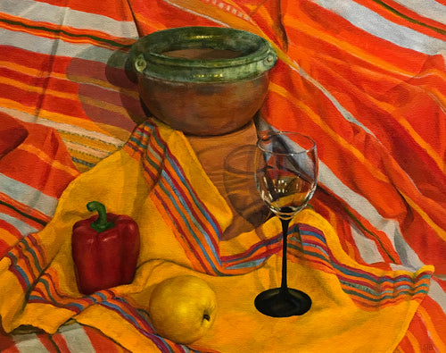 Mexican pot on striped cloth by Susan Bailey