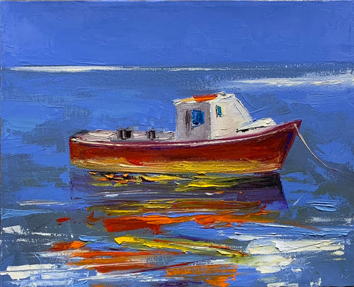 Red Boat  - Modern Abstract by Janis Sanders