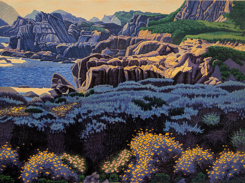 May-Point Lobos, Limited Reduction Woodblock Print by Gordon Mortensen
