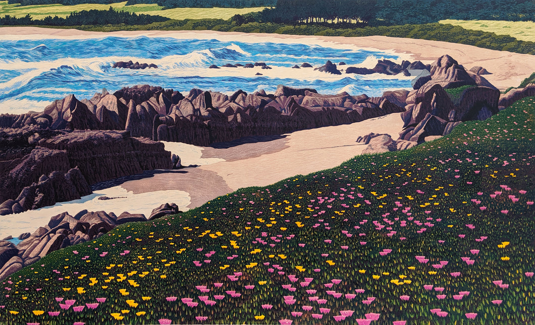 Meadows Beach - Unframed Woodcut on Paper by Gordon Mortensen