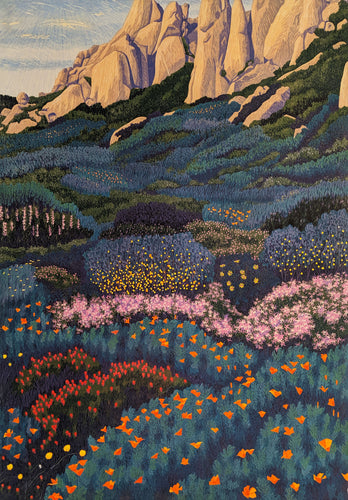 Meadows Ridge - Woodcut on Paper by Gordon Mortensen