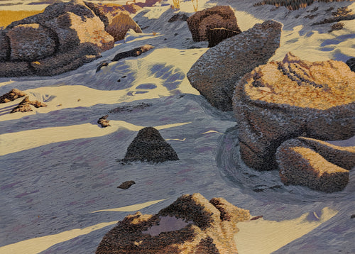 Rocks at Spanish Bay - Woodcut on Paper by Gordon Mortensen