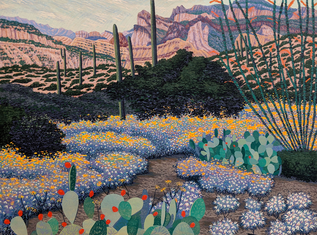 Spring in Arizona - Woodcut on Paper by artist Gordon Mortensen