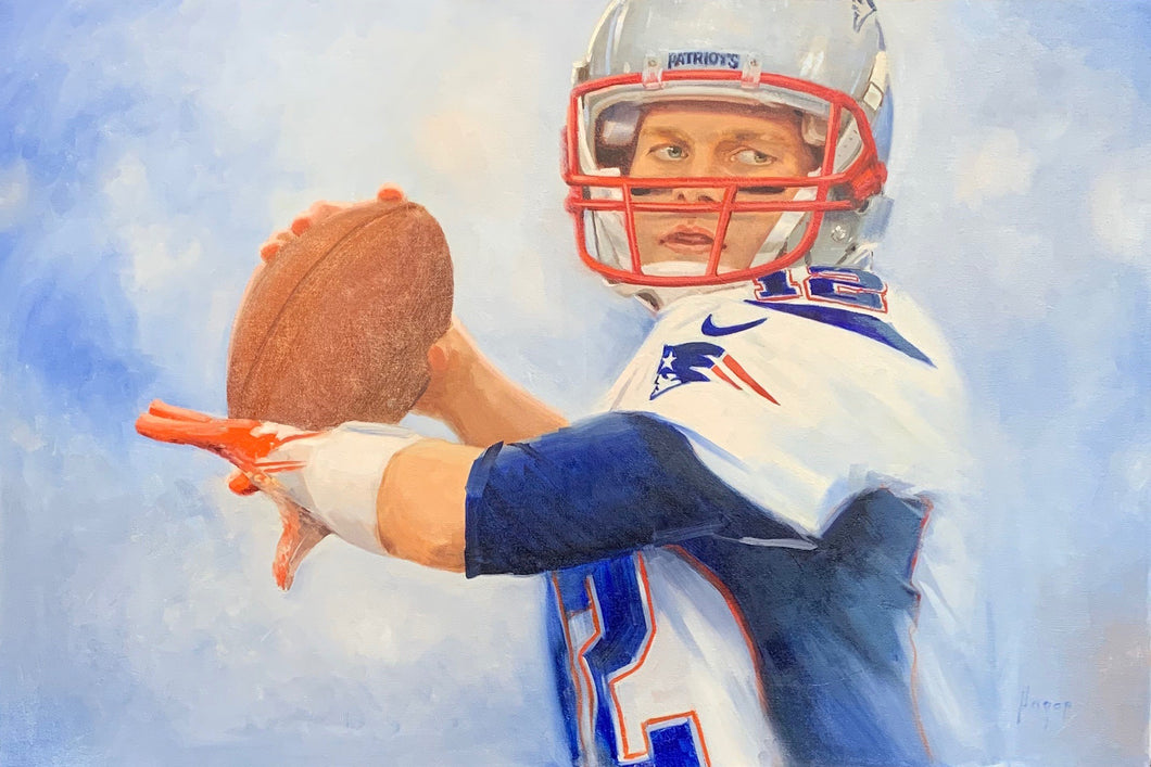 Precision - Tom Brady -  Original Oil on Canvas Football Painting by Hagop Keledjian