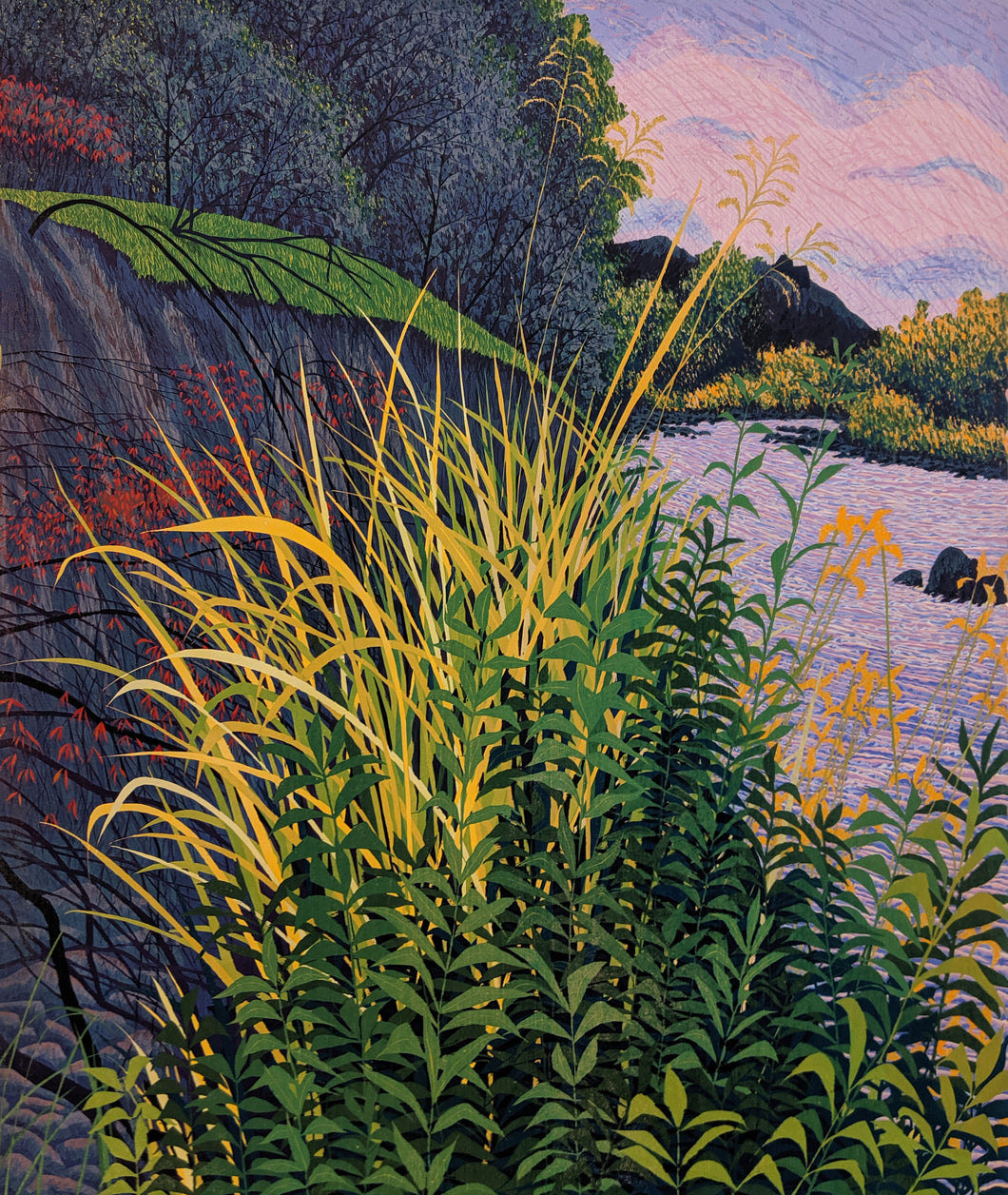 Tonto Creek - Reduction Woodcut Print on Paper by Gordon Mortensen