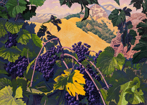 Vineyard - Woodcut on Paper by Gordon Mortensen