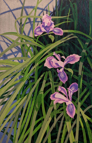 Wild Iris - Reduction Woodcut Print on Paper by Gordon Mortensen