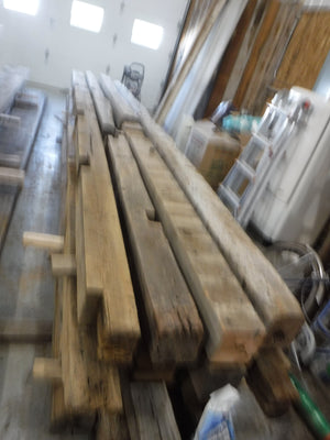 Antique oak barn beams from Elmwood Missouri barn.