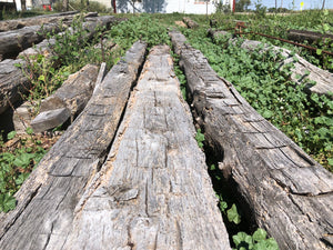 Oak hand hewn beams 27' lengths (2) available