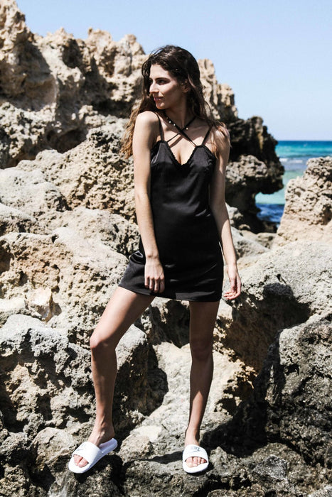 HAILEY Black Satin Dress