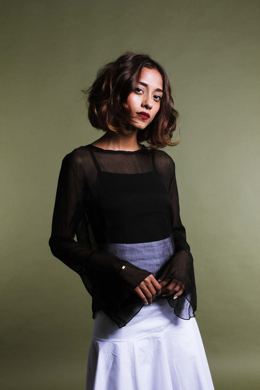 WILLOW Black Flared Sheer Top
