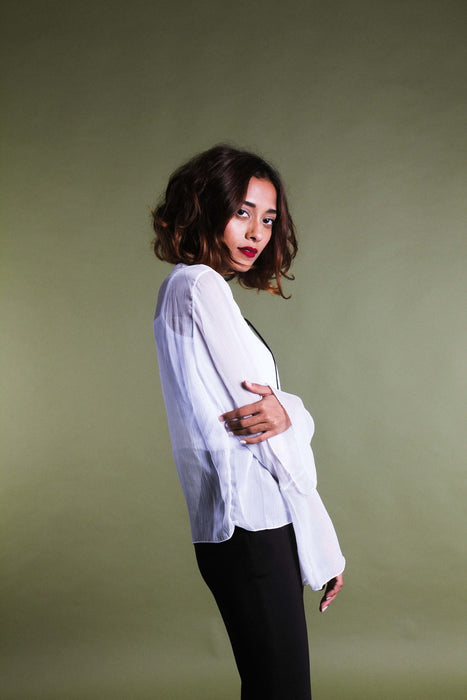 WILLOW White Flared Sheer Top