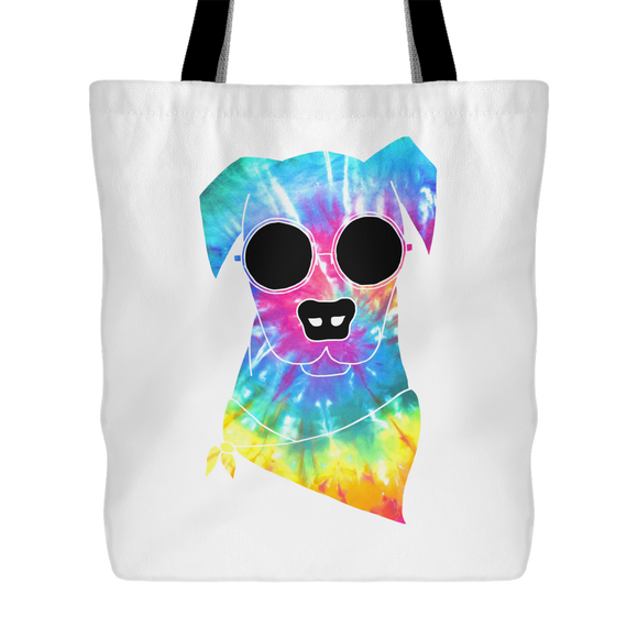 Psychedelic Hippie Dog Large Tote Bag
