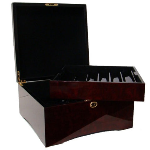 750 Piece Glossy Wooden Mahogany Case