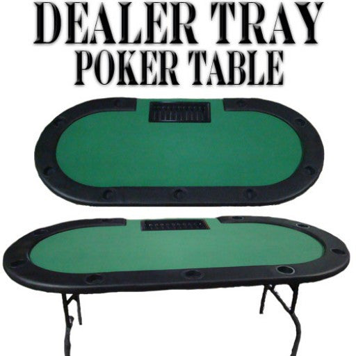 Green Felt Poker Table W/ Cup Holders & Dealer Tray 82x42