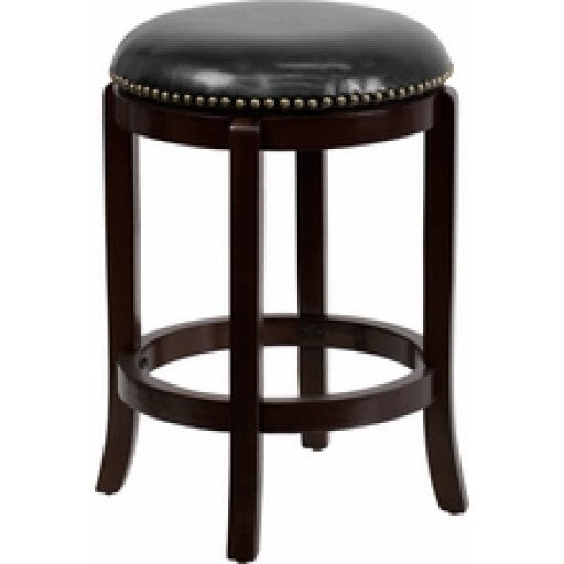 24'' Backless Cappuccino Wood Stool with Swivel Seat