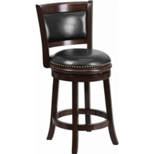 24'' Cappuccino Wood Stool with Swivel Seat