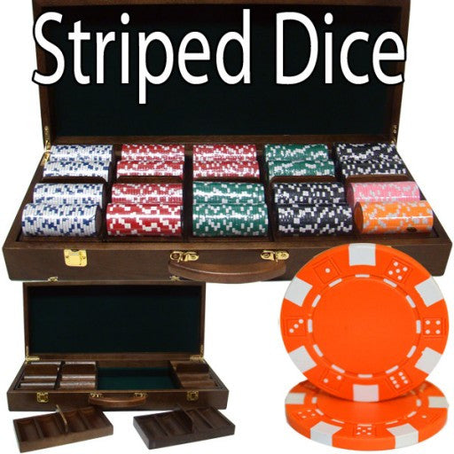 500 Piece - Striped Dice 11.5 G - Walnut Case