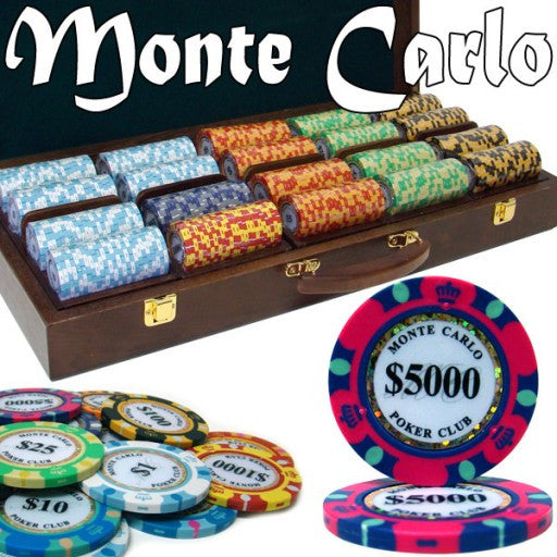 Pre-Pack - 500 Piece Monte Carlo Chip Set Walnut Wooden Case
