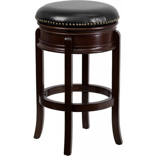 29'' Backless Cappuccino Wood Bar Stool w/ Swivel Seat