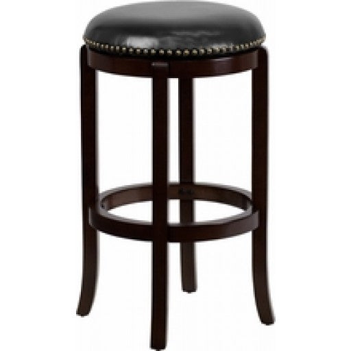 29'' Backless Cappuccino Wood Bar Stool with Swivel Seat